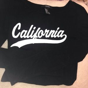 Forever 21 Long Sleeve Black Crop Top (s)